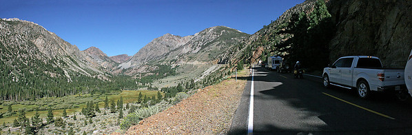 We enter Yosemite from the east over Tioga Pass.  Here is our truck and just a bit of our trailer on the right, as we wait for a flagman to open up a lane past construction, just as we start up the steep part of the pass.