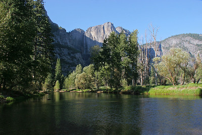 Merced River, with Yosemite Falls in the background.