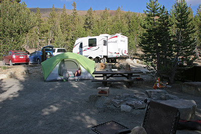Our camp at Saddlebag Lake.  Maneuvering the trailer into that spot was quite a feat!