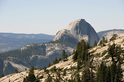 Telephoto view of Half Dome from Olmstead Point on Tuolumne Meadows Road.
