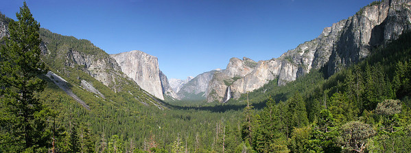 Multi image panorama of the view as one emerges from the tunnel and first sees Yosemite Valley.