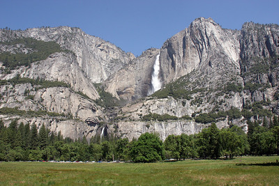 Yosemite Falls as seen from out in the middle of the valley.
