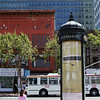 A typical kiosk for information on major San Francisco streets. This was taken at Market Street and United Natons Plaza.