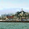 A foggy north shore of San Francisco taken from San Francisco Bay.