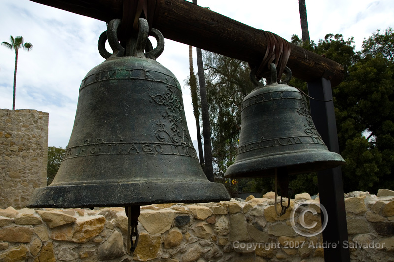 Two of the original bells (San Vicente and San Juan) sit on display within the footprint of the original bell tower at Mission San Juan Capistrano.