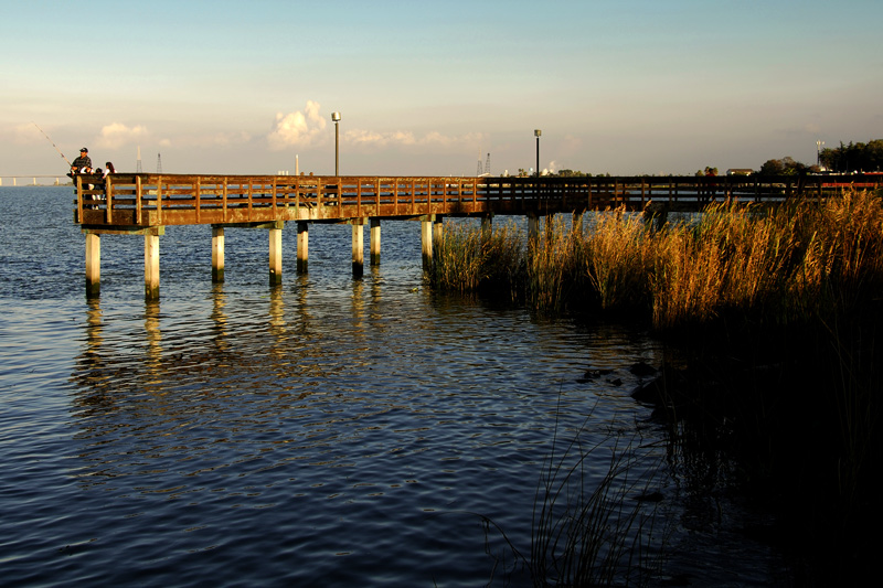A fishing pier near the AmTrac Railroad Station.