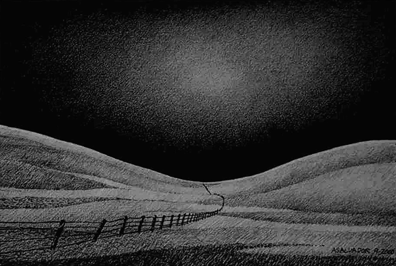 """A pencil drawing I did of the Antioch Hills at dusk. It is a 13"""" x 9"""" pencil drawing on watercolor paper."""