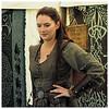 A woman's celtic field clothes.