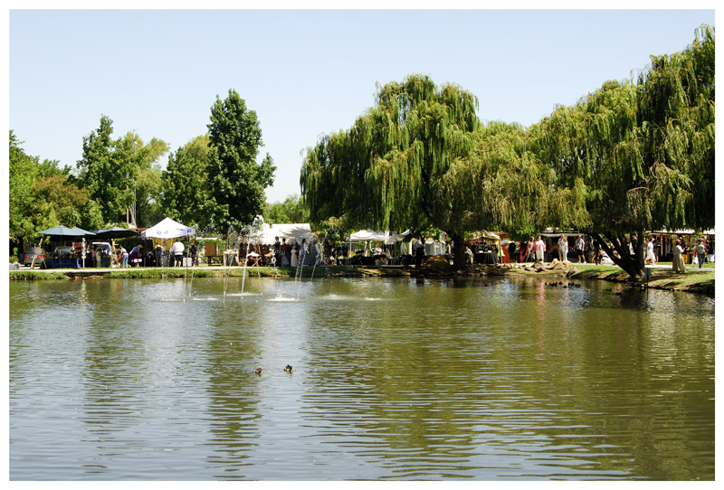 The faire site is at one side of a long lagoon at a public park near the Stoneman High School in Pittsburg, California.