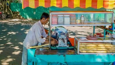 Sugarcane juice treat in Cambodia.