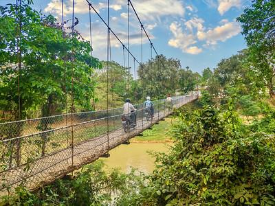 Suspension bridge in Cambodia.