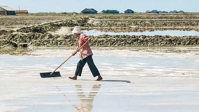 A salt farm in Cambodia.