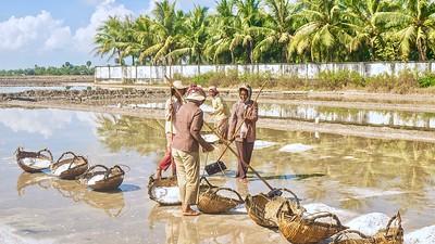 Cambodian women harvesting sea salt -- tough work in the hot sun!