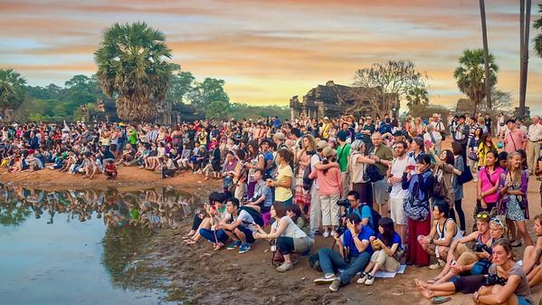 Waiting for sunrise at Angkor Wat, Cambodia.