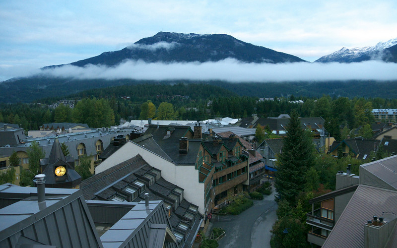 7:15 and after a cloudy day yesterday, the weather for today is looking good.  A low lying cloud hangs over the village.