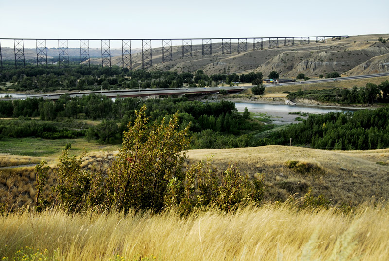 A closer look of the Lethbridge Viaduct and the new modern highway beside it. The east bank of the river is on the right hand side.