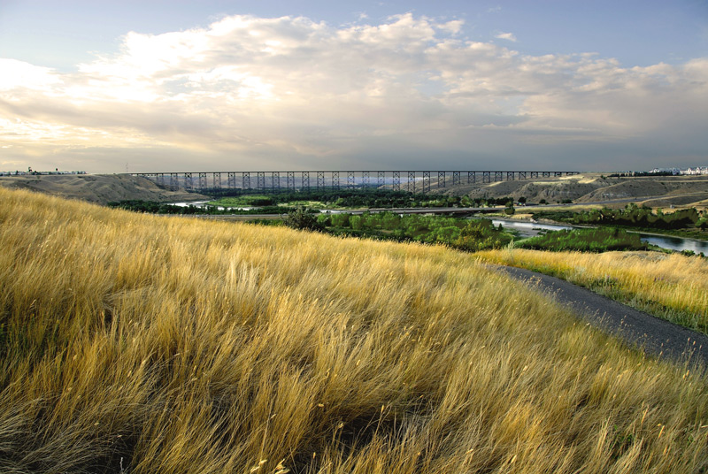 A view of the High Level Bridge taken from the west bank of the coulee.