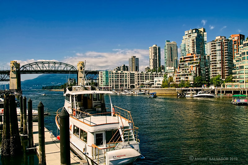 View from Granville Island looking towards northwest at Burrard Bridge and the West End area of  Vancouver.