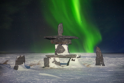 Inukshuk and Northern Lights