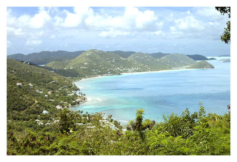 The green mountainous coastline of Dominica.