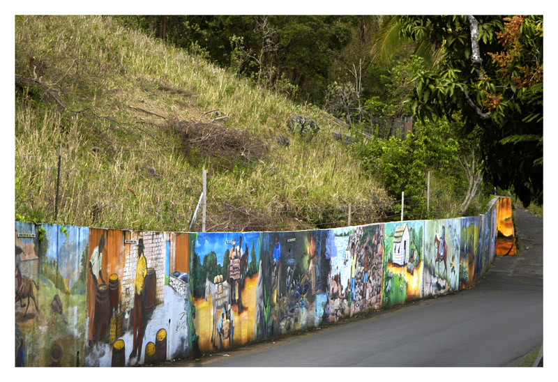 These murals were done by high school students along the roads of the city where the school is located.