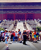 The crowd at the front of the main stairway of the Temple of Harmony at the Forbidden City.