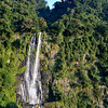 Wulai waterfall shown above with the sky trams above it to the top of the mountain.