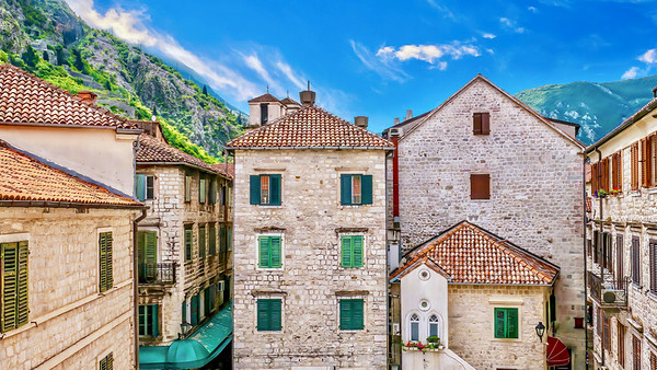 The quaint building style of Kotor's Old Town.