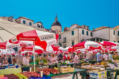 The colorful Dubrovnik Farmers' Market, held in the Old Town.