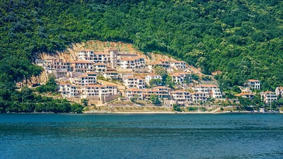 A new waterfront housing development cut out of a forested hillside.