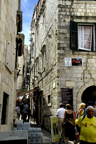 This narrow street goes up to the top level of the walls.