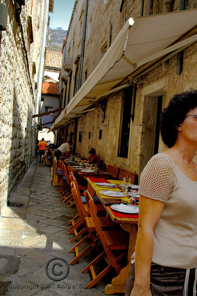 The next nine photos are the narrow side streets of Dobruvnik. The place is clean and the street floors are of marble.