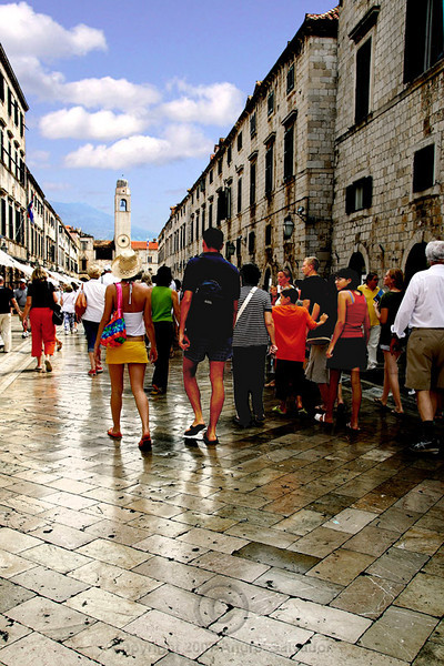 This is Stradun, Dubrovnik's main street. Notice the street is made of centuries old marble.