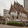 Small Wat Monastery in city in Bangkok