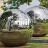 Two large reflective chrome balls in Singapore