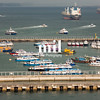 The harbour of Singapore in Asia
