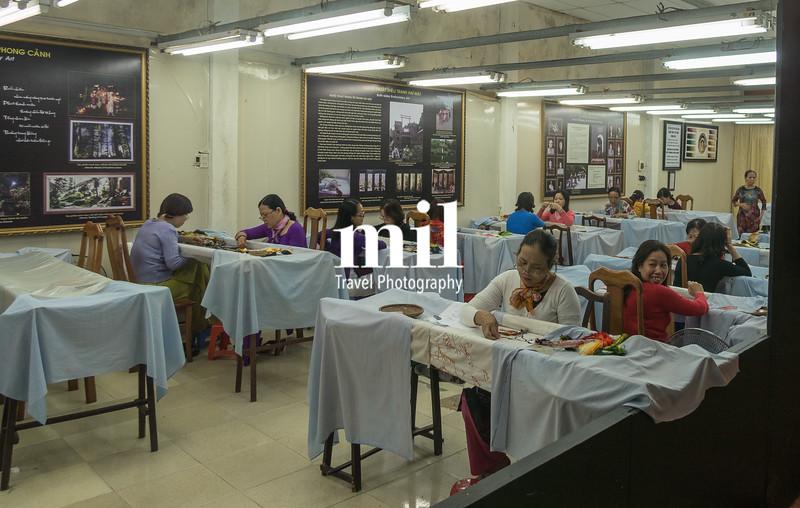 Traditional Vietnamese Silk Paintings being prepared