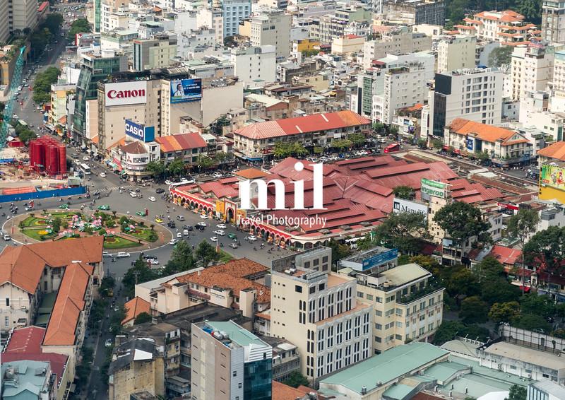 Aerial view of Ho Chi Minh City (former Saigon) Ben Thanh Market