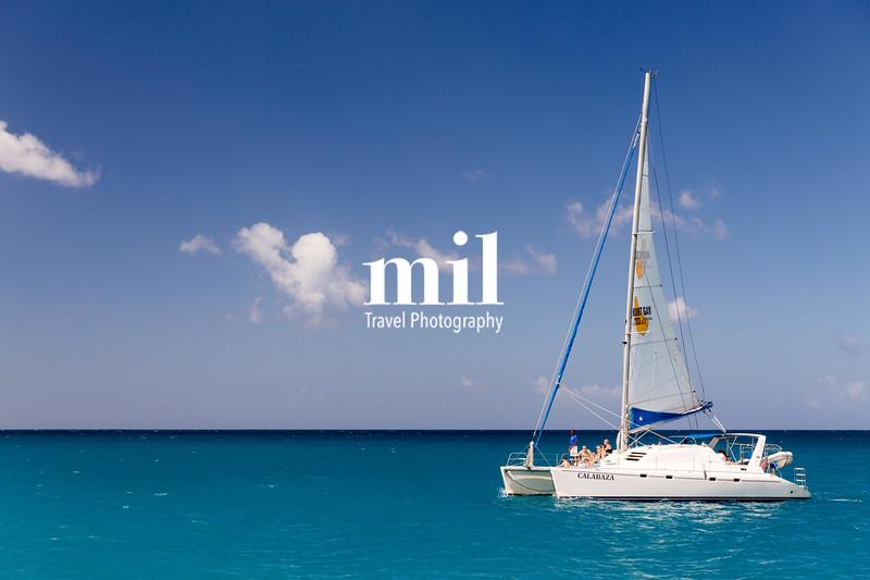 Catamaran cruising at sea in Barbados