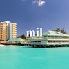 View of a hotel from a Catamaran in Carlisle Bay in Barbados