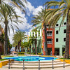 Bright colorful colourful square in Willemstad in Curacao
