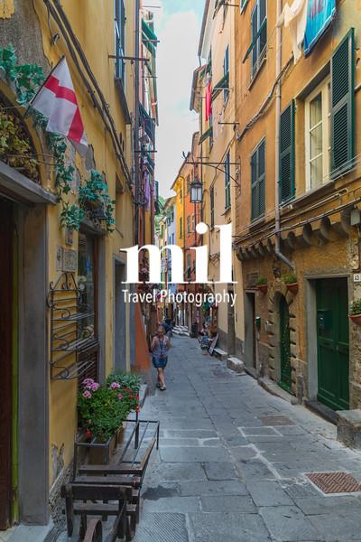 Street in Portovenere in the Ligurian region of Italy