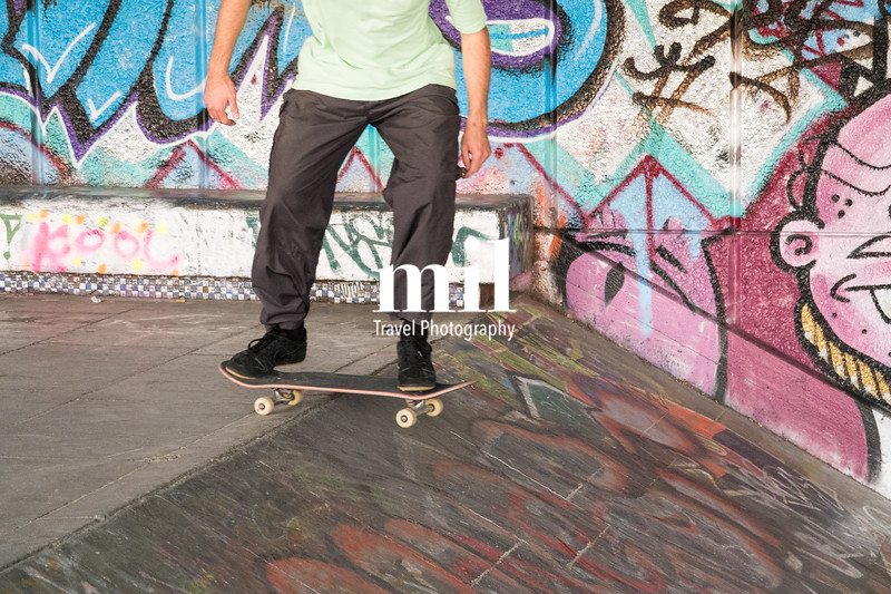 Skateboarder in London under the arches