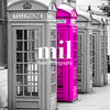 Five London Telephone boxes all in a row in black and white - one Pink