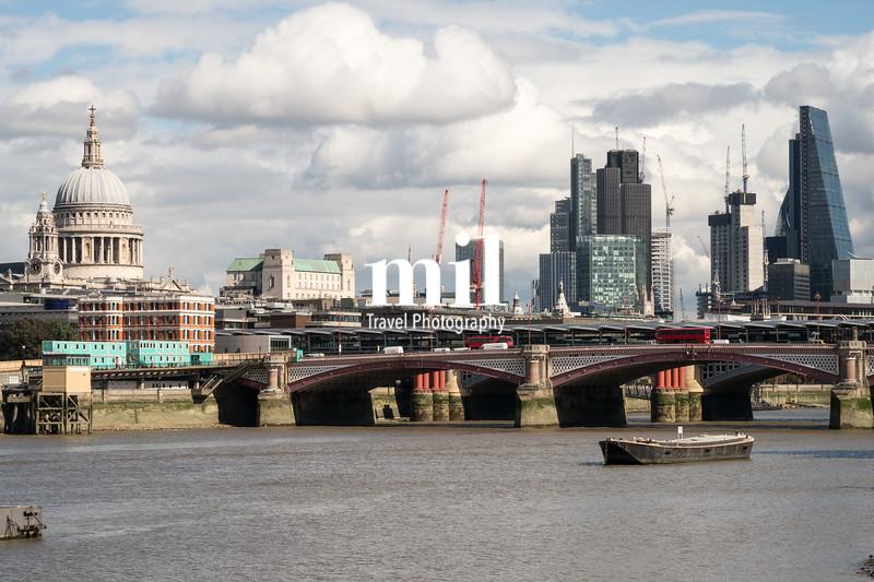 London City Skyline near Blackfriars Bridge