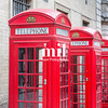 Five Red London Telephone boxes all in a row