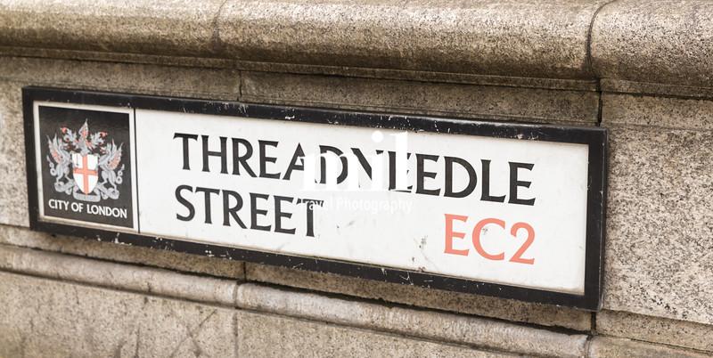 Threadneedle Street street sign in the City of London