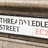 Threadneedle Street street sign in the City of London