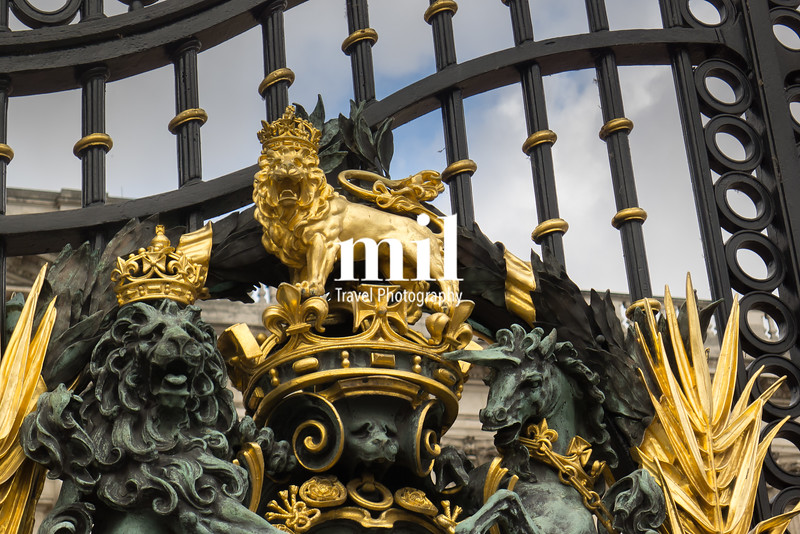 Very close up to the Buckingham Palace Gates
