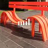 Empty Orange Bench in London